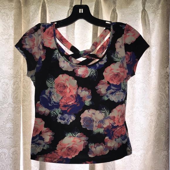 2dd5a1533c9e3a Flower Print Charlotte Russe Shirt